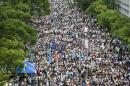 Students gather during a strike at the Chinese University of Hong Kong on September 22, 2014