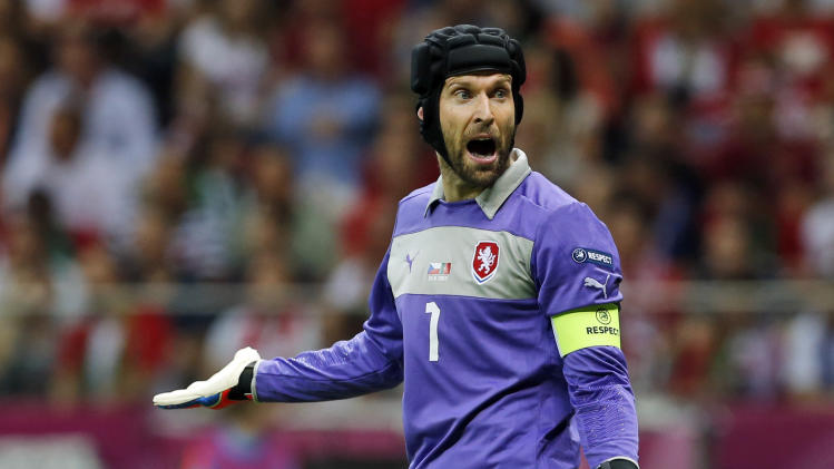 Czech goalkeeper Petr Cech reacts during the Euro 2012 soccer championship quarterfinal match between Czech Republic and Portugal in Warsaw, Poland, Thursday, June 21, 2012. (AP Photo/Petr David Josek)