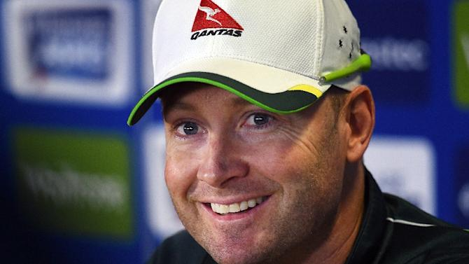 Australia's captain Michael Clarke attends a press conference at Edgbaston in Birmingham, central England on July 28, 2015 ahead of the third Ashes cricket test match against England