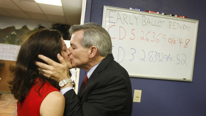 Congressional District 6 candidate Rep. David Schweikert, R-Arizona, gets an early victory kiss from his wife Joyce as election results begin to be reported at his campaign headquarters on Tuesday, Aug. 28, 2012 in Phoenix, Ariz. Schweikert and fellow Republican incumbent Rep. Ben Quayle have been locked in a spirited primary fight for the GOP nomination in the redrawn 6th District. (AP Photo/Ralph Freso)