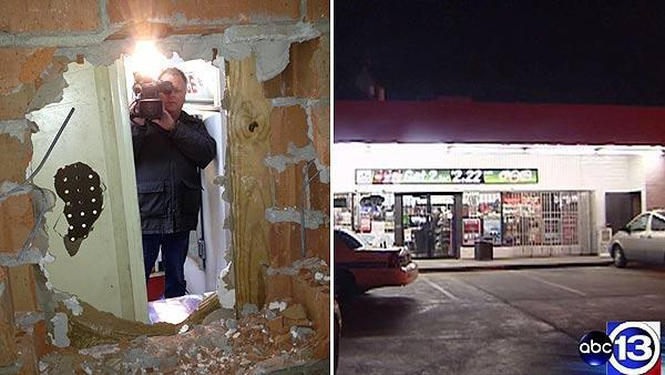 Burglar breaks through wall at N. Houston gas station