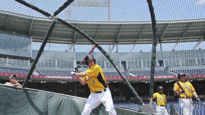 Kent State's Jimmy Rider waits for a pitch during batting practice in Omaha, Neb., Thursday, June 14, 2012. Kent State is scheduled to play Arkansas on Saturday in an NCAA College World Series baseball game. (AP Photo/Dave Weaver)