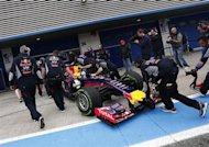 Red Bull Formula One driver Sebastian Vettel of Germany sits inside his RB10 as team members push his car into the garage during pre-season testing at the Jerez racetrack in southern Spain January 28, 2014. REUTERS/Marcelo del Pozo