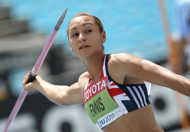 Britain's Jessica Ennis competes in the javelin throw of the women's heptathlon event at the International Association of Athletics Federations (IAAF) World Championships in Daegu on August 30