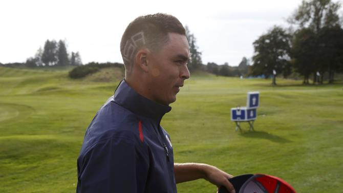 "The word ""USA"" is seen on Rickie Fowler's hair during practice ahead of the 2014 Ryder Cup at Gleneagles in Scotland"