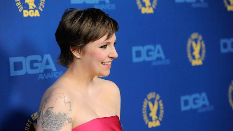 Lena Dunham arrives at the 65th Annual Directors Guild of America Awards at the Ray Dolby Ballroom on Saturday, Feb. 2, 2013, in Los Angeles. (Photo by Chris Pizzello/Invision/AP)