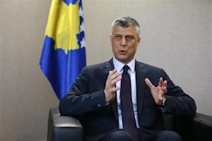 Kosovo's PM Thaci speaks to Reuters during an interview in Pristina