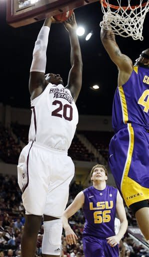 LSU beats Mississippi St 69-68