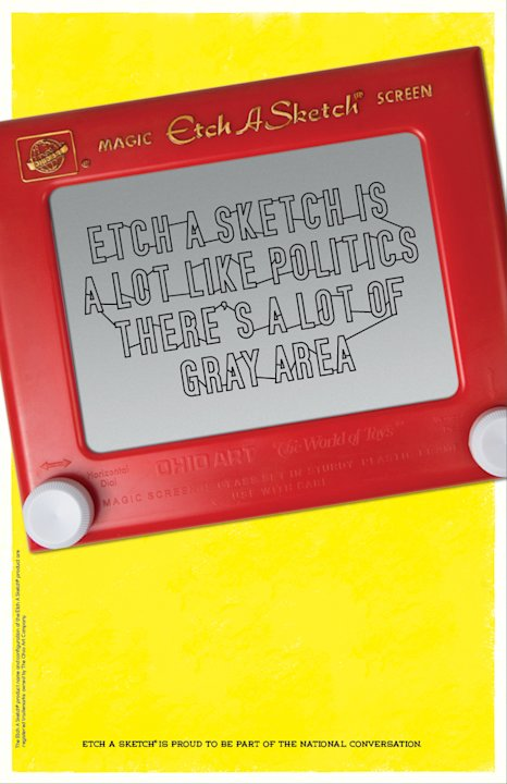 This undated image provided by the Ohio Art Company, makers of Etch A Sketch, shows one of the ads for a new politics-themed ad campaign. The company is launching the campaign after making headlines n