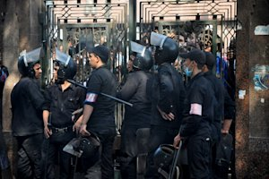 Egyptians security forces provide a cordon around the …