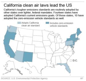 Map shows states that have adopted California clean car standards
