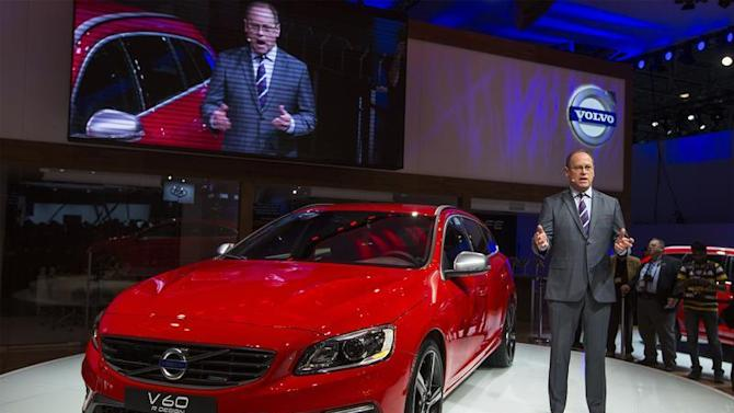 Doug Speck, senior vice president for marketing, sales & customer service at Volvo Car Corporation, introduces the 2014 Volvo V60 wagon during the New York International Auto Show