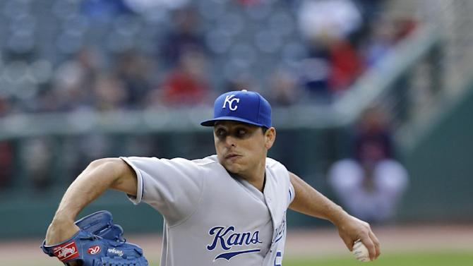 Kansas City Royals starting pitcher Jason Vargas delivers in the first inning of a baseball game against the Cleveland Indians, Monday, April 27, 2015, in Cleveland. (AP Photo/Tony Dejak)