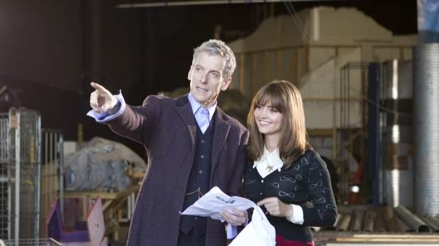 Peter Capaldi and Jenna Coleman prepare to shoot Season 8 of 'Doctor Who' in Cardiff, Wales -- Adrian Rogers/BBC