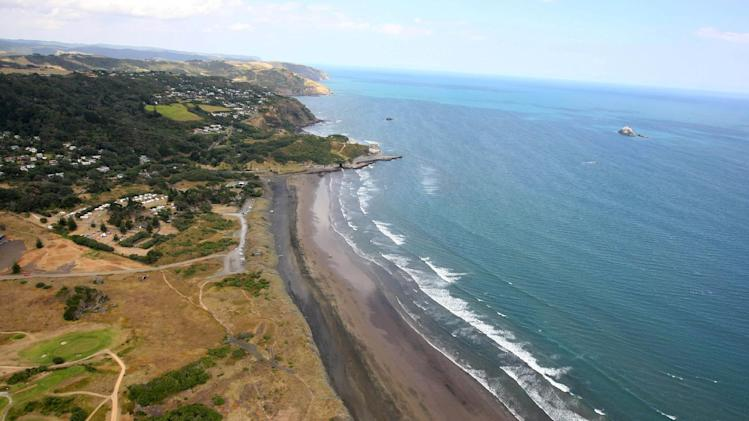 Muriwai Beach near Auckland, New Zealand, is seen from the air Wednesday, Feb. 27, 2013, following a fatal shark attack.  Police said a man was found dead in the water Wednesday afternoon after being