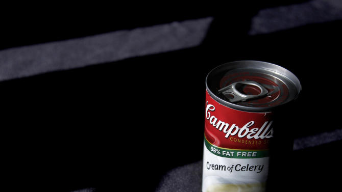 This Aug. 31, 2011 photo shows a can of Campbell's, 98% Fat Free, Cream of Celery soup posed Moreland Hills, Ohio. Campbell Soup Co. said Friday, Feb. 17, 2012, its second-quarter net income fell 14 percent as it faced higher commodity costs and it worked to improve its core soup business. (AP Photo/Amy Sancetta)