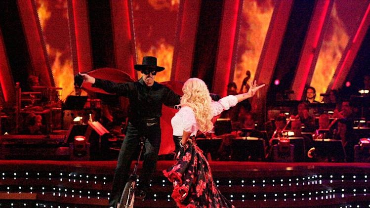 Adam Carolla and Julianne Hough perform a dance on the sixth season of Dancing with the Stars.