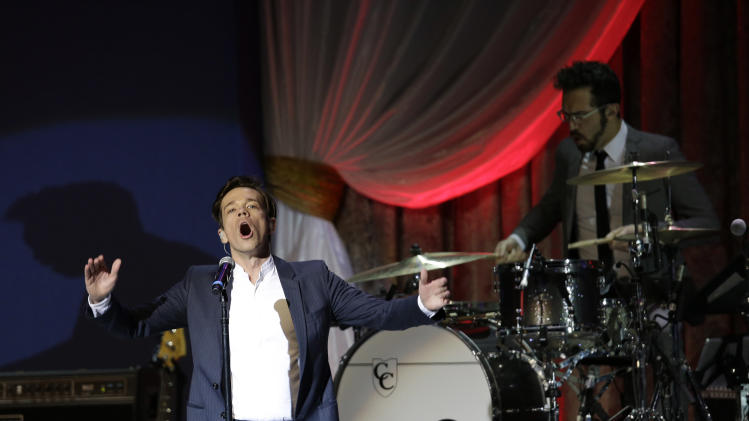 Fun performs during The Inaugural Ball at the Washignton convention center during the 57th Presidential Inauguration in Washington, Monday, Jan. 21, 2013. (AP Photo/Paul Sancya)