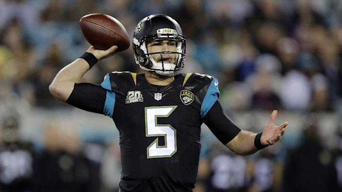 Jacksonville Jaguars quarterback Blake Bortles throws a pass against the Tennessee Titans during the first quarter of an NFL football game Thursday, Dec. 18, 2014, in Jacksonville, Fla