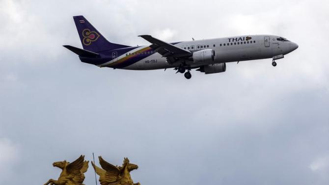 Thai Airways plane prepares to land at Bangkok's Suvarnabhumi Airport