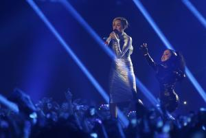 Miley Cyrus, left, and a dancer perform at the 2013…