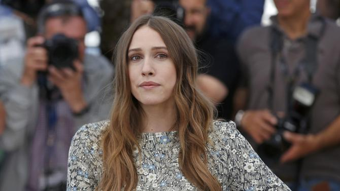 """Cast member Sarah Sutherland poses during a photocall for the film """"Chronic"""" in competition at the 68th Cannes Film Festival in Cannes"""