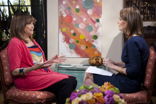 In this undated photo provided by NBC, Valerie Harper is interview by Savannah Guthrie of NBC&#39;s &quot;Today&quot; at Harper&#39;s home in Los Angeles. In her first TV interview since disclosing her diagnosis last week, the 1970s sitcom star tells Guthrie that &quot;&#39;incurable&#39; is a tough word.&quot; It is scheduled to air on Monday, March 12, 2013. (AP Photo/NBC)