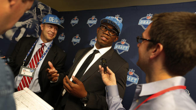 IMAGE DISTRIBUTED FOR NIKE - Ziggy Ansah, defensive end from Brigham Young University, speaks to the media after being selected as the fifth overall pick by the Detroit Lions after the first round of the 2013 NFL Draft, Thursday, April 25, 2013, in New York City, New York. (John Minchillo/AP Images for NIKE)
