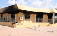 A burnt building is seen inside the US Embassy compound in September 2012 in Benghazi, Libya, following an overnight attack on the building. Extra protection for the Benghazi mission had been requested and then denied