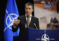 NATO Secretary General Anders Fogh Rasmussen gives a press conference on the second day of the NATO Foreign Affairs ministers meeting at the NATO Headquarters in Brussels. NATO called on North Korea Wednesday to call off a planned rocket launch which it said would violate UN resolutions and risk destabilising the region