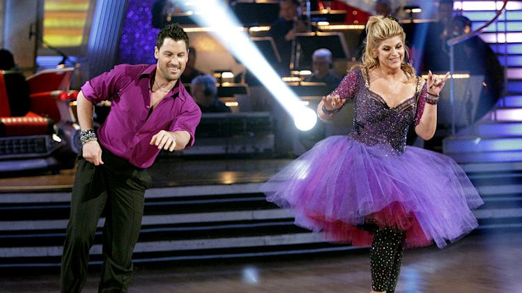 "Kirstie Alley and Maksim Chmerkovskiy perform on ""Dancing with the Stars."""