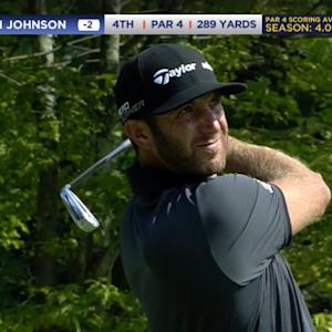 Dustin Johnson drives the par-4 4th hole with 2-iron at Deutsche Bank