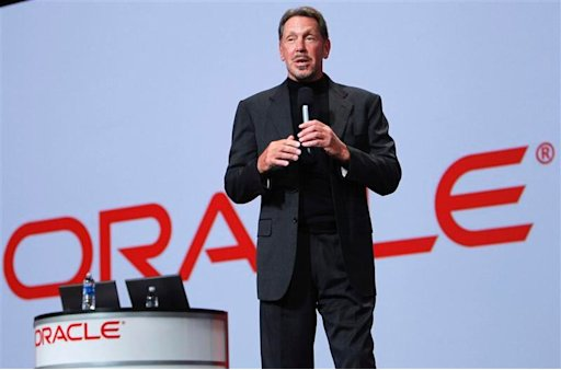 File photo of Oracle CEO Larry Ellison talking during his keynote address at Oracle Open World in San Francisco
