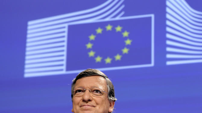 """European Commission President Jose Manuel Barroso addresses the media after the 2012 Nobel Peace Prize was given to the EU, at the European Commission headquarters in Brussels, Friday, Oct. 12, 2012. The European Union has been awarded the Nobel Peace Prize for its efforts to promote peace and democracy in Europe, in the midst of the union's biggest crisis since its creation in the 1950s. The Norwegian prize committee said the EU received the award for six decades of contributions """"to the advancement of peace and reconciliation, democracy and human rights in Europe. (AP Photo/Yves Logghe)"""