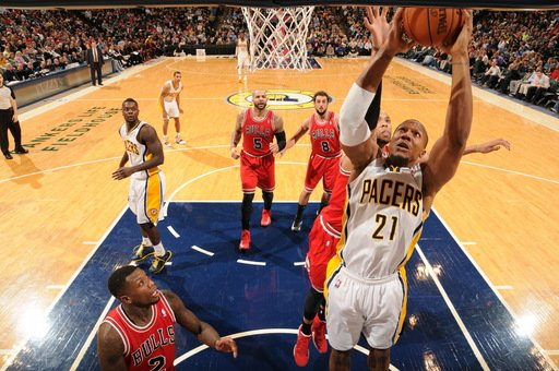 INDIANAPOLIS, IN - FEBRUARY 4:  David West #21 of the Indiana Pacers goes to the basket during the game between the Indiana Pacers and the Chicago Bulls on February 4, 2013 at Bankers Life Fieldhouse in Indianapolis, Indiana.  (Photo by Ron Hoskins/NBAE via Getty Images)