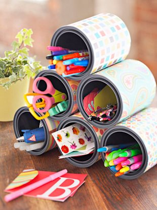 Upcycle cans: glue them together for craft storage