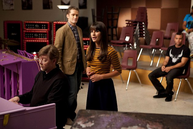"GLEE: Rachel (Lea Michele) performs in the choir room for Mr. Schuester (Matthew Morrison) in ""The Purple Piano Project"", the Season Three premiere episode of GLEE airing Tuesday, Sept. 20 (8:00-9:00"
