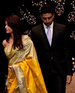 Aishwarya with Abhishek during the event