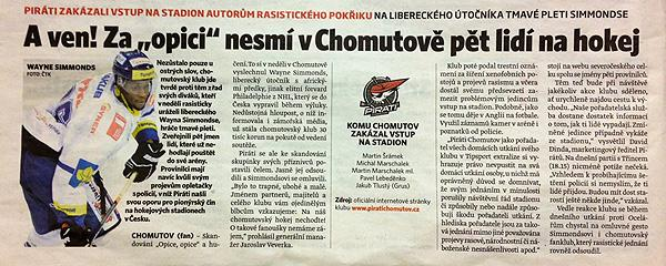 A story in Czech republic newspaper on Wayne Simmonds being subjected to racist chants by fans during a game