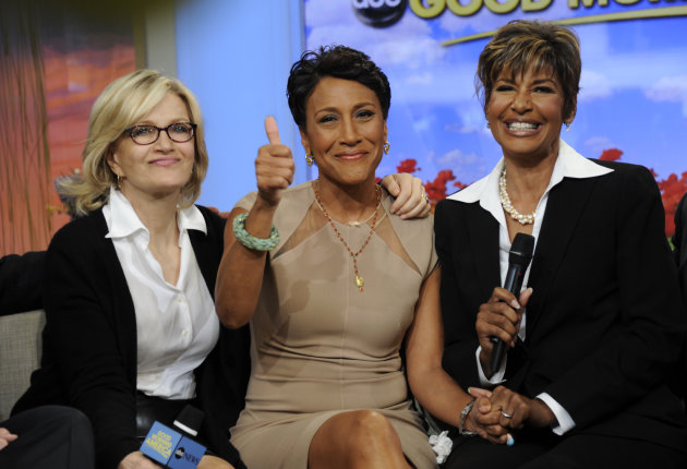 This image released by ABC shows host Robin Roberts, center, with her sister Sally-Ann Roberts, right and ABC News&#39; Diane Sawyer on &quot;Good Morning America&quot; Monday, June 11, 2012, after Robin Roberts announced she has been diagnosed with myelodysplastic syndrome, a blood and bone marrow disease once known as preleukemia. She says she will undergo chemo and a bone marrow transplant this year as &quot;pretreatment&quot; for the disease, which she says she has known about for several weeks. She says her sister is a great match for her. While she says she&#39;ll miss a day here and there, she&#39;ll remain on the air. (AP Photo/ABC, Ida Mae Astute)