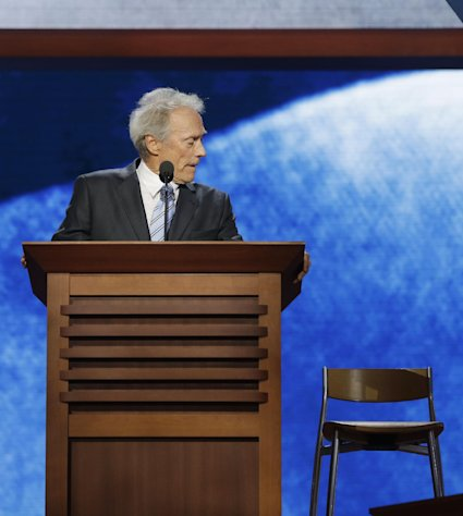 FILE - This Aug. 30, 2012 file photo shows actor Clint Eastwood addressing an empty chair at the Republican National Convention in Tampa, Fla. More than a week after Clint Eastwood delivered a speech to the Republican National Convention, the veteran Hollywood actor-director continues to be mocked for his peculiar, rambling conversation with an imaginary President Barack Obama in an empty chair on stage, begging the question: Will his latest film also be playing to empty seats when it debuts later this month? (AP Photo/Charles Dharapak, file)