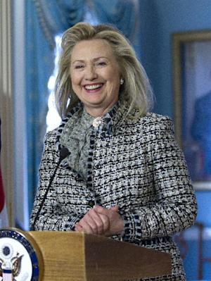FILE - In this March 9, 2012 file photo, Secretary of State Hillary Rodham Clinton speak to the media during a news conference at the State Department in Washington Friday, March 9, 2012. Last weekend Clinton, along with actress Meryl Streep participated the Women in the World summit, a three-day gathering prominent women leaders.  (AP Photo/Manuel Balce Ceneta)