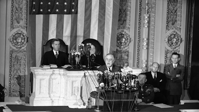 "FILE - This Jan. 7, 1943 file photo shows President Franklin D. Roosevelt giving his State of the Union address on Capitol Hill in Washington. Is ""strong"" losing its strength? Presidents of both parties have long felt compelled to sum up the state of the union with a descriptive word or two in their State of the Union addresses. Mostly the same word. For many years now, ""strong"" has been the go-to adjective. (AP Photo, File)"