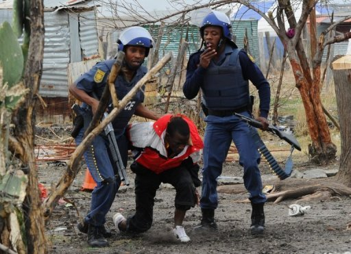 &lt;p&gt;South African police arrest a miner in Marikana on September 15. Striking South African miners have called for a &quot;peaceful march&quot; on a police station Sunday after authorities launched a major crackdown in the country&#39;s restive platinum belt.&lt;/p&gt;