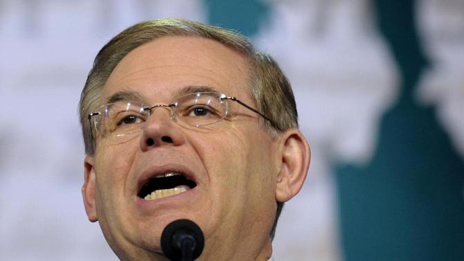 """FILE - In this March 5, 2013 file photo, Senate Foreign Relations Committee Chairman Sen. Robert Menendez, D-N.J. speaks in Washington. Menendez, on Sunday June 13, 2013 said """"there'll never be a road to the White House for the Republican Party"""" if immigration overhaul fails to pass. (AP Photo/Susan Walsh, File)"""