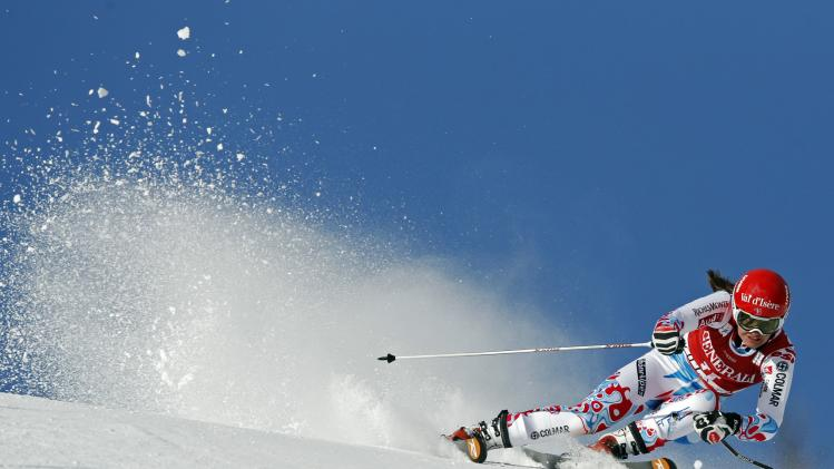 France's Marmottan skis during the Women's World Cup Giant Slalom skiing race in Val d'Isere