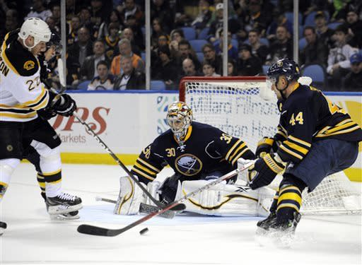 Khudobin stops 26 in Bruins' 2-0 win over Sabres