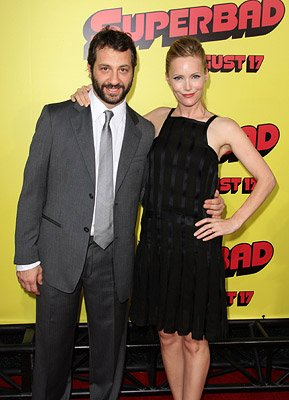 Producer Judd Apatow and Leslie Mann at the Los Angeles premiere of Columbia Pictures' Superbad