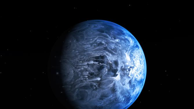 In this undated illustration provided by the European Space Agency (ESA), an artists impression of one of Earth's nearest planets outside the solar system named HD 189733B. Astronomers said Friday, July 12, 2013 that for the first time they had gained an understanding of HD 189733B, which is around 63 light years away by discovering the huge gas giant's blue color. To ascertain the planet's color the astronomers measured the amount of light reflected of its surface as it eclipsed its host star. (AP Photo/ESA-Hubble, M. Kornmesser)