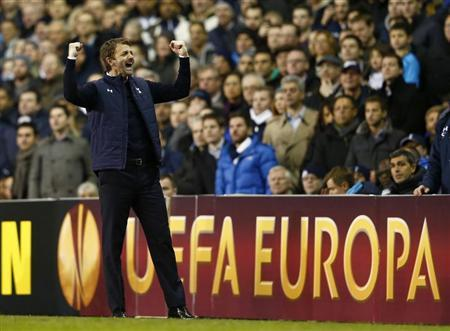 Tottenham Hotspur's manager Sherwood celebrates after his side won their Europa League soccer match against Dnipro at White Hart Lane